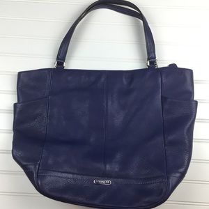 COACH Park Carrie North South Leather Purple Tote